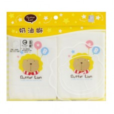 奶油獅 紗布素色印花手帕-2入