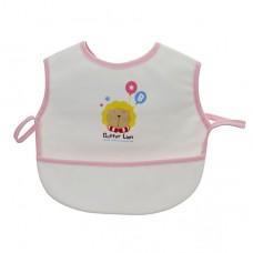 奶油獅 超防水接漏餐用圍兜-粉色