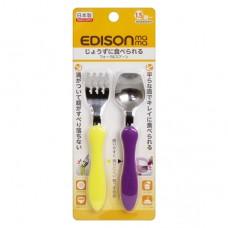EDISON mama 不鏽鋼叉匙組-黃+紫