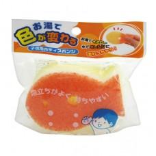 日本 雙色魚幼兒洗澡海棉