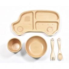 山毛櫸兒童餐具禮盒-叭叭車