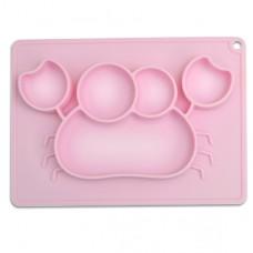 元氣寶寶 螃蟹矽膠止滑餐盤-粉色