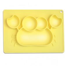 元氣寶寶 螃蟹矽膠止滑餐盤-黃色