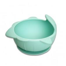 元氣寶寶 鯊魚矽膠強力吸盤碗-綠色