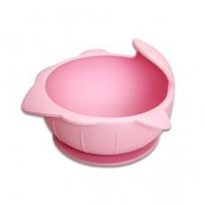 元氣寶寶 鯊魚矽膠強力吸盤碗-粉色