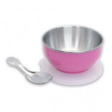 元氣寶寶 彩色不鏽鋼隔熱寶寶碗-粉色
