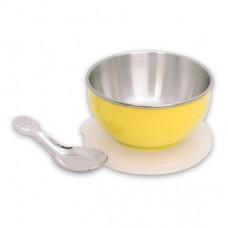 元氣寶寶 彩色不鏽鋼隔熱寶寶碗-黃色