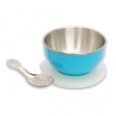 元氣寶寶 彩色不鏽鋼隔熱寶寶碗-藍色