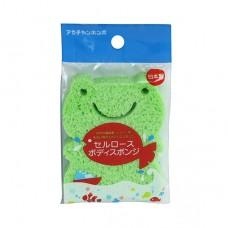 阿卡將 木漿纖維嬰兒洗澡海棉-青蛙