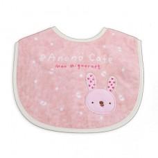 日本 粉紅兔毛巾布圍兜