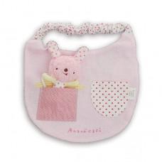 日本 粉紅兔玩偶布圍兜