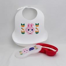 小兔餐用圍兜+離乳研磨器 禮盒