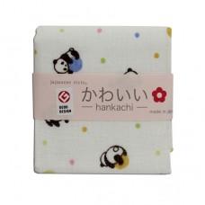 日本 雙層(紗布+毛巾)手帕-貓熊