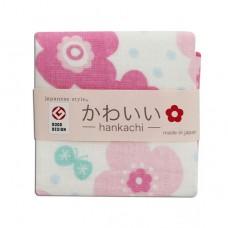 日本 雙層(紗布+毛巾)手帕-花與蝶