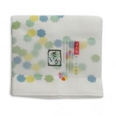 日本 雙層(紗布+毛巾)厚質手帕-花糖(綠色)