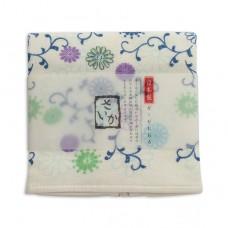 日本 雙層(紗布+毛巾)厚質手帕-菊唐草(藍色)