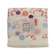 日本 雙層(紗布+毛巾)厚質手帕-菊唐草(紅色)