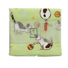 日本 雙層(紗布+毛巾)厚質手帕-貓咪(綠色)