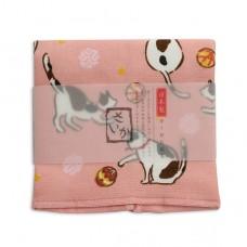 日本 雙層(紗布+毛巾)厚質手帕-貓咪(橙色)