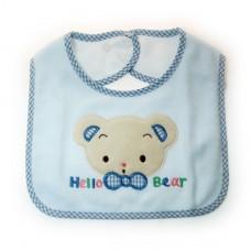 幼兒防水毛巾背扣圍兜-藍色